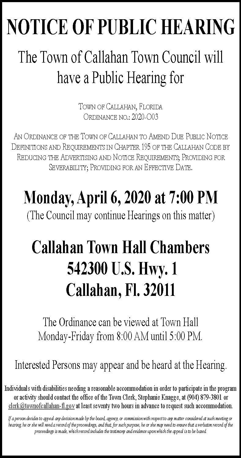 NOTICE OF PUBLIC HEARING ORDINANCE NO.: 2020-O03