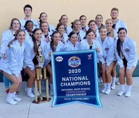 West Nassau High School's varsity cheerleaders are Florida's first cheerleading team to win state, national and world championships in two consecutive years.