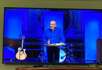 Local churches switch to online sermons as Nassau County restricts gatherings to 10 or less people in an effort to reduce the spread of COVID-19. Lynn Hyatt delivers the message to Callahan First Baptist Church online attendees.