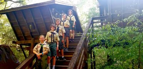 Members of the Boy Scout Troop and the all-girl Troop 152 attend summer camp in June at Camp Shands near Melrose. They stayed in the tree houses. While practicing social distancing, scouts were able to attend classes and enjoy the outdoors. Scouts completed 38 badges and earned two awards and four scouts achieved ranks. Scout Master William Anno and Amanda Sridasome attended with the scouts. They included Miley Meredith, Avery Meredith, Xavier Gallagher, Christina Scheider and Caitlyn Scheider.