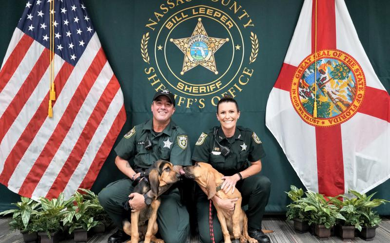 New K9 puppies Raven and Rogue will be handled by Deputy Lockhart and Deputy Smith. Smith is the first female K9 handler to work for the Nassau County Sheriff's Office.