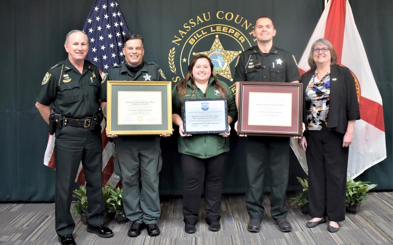 The Nassau County Sheriff's Office recently received reaccreditation in multiple categories. Showing off the certifications are, from left, Nassau County Sheriff Bill Leeper, Detention Deputy Darren Lorenz, Communications Officer Alicia Waldron, Patrol Deputy Ivan Pinkston and NCSO Accreditation Manager Lawanna Ware.